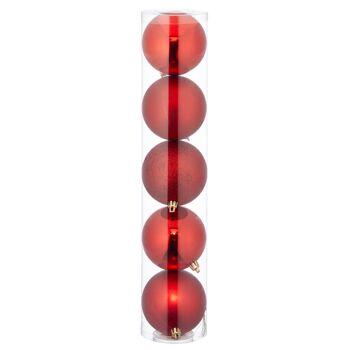 17-62128, Christbaumkugel Sortiment, 5er Set, rot, ca. 8cmD, Weihnachtsbaumkugeln, Weihnachtsbaumhänger, Tannenbaumkugeln