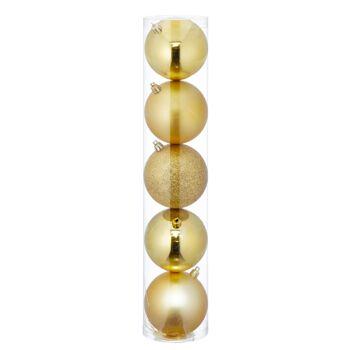 17-62136, Christbaumkugel Sortiment, 5er Set, GOLD, ca. 8cmD, Weihnachtsbaumkugeln, Weihnachtsbaumhänger, Tannenbaumkugeln