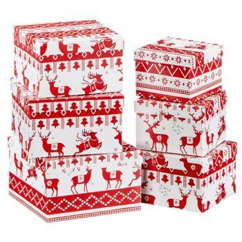 Geschenkkarton Weihnachten.17 26048 Boxenset Nordic Xmas 6 Teilig Quadratisch Weihnachten Geschenkschachtel Geschenkkarton