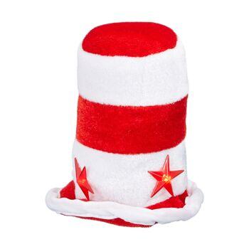17-41484, Weihnachtshut mit 3 rot blinkende LED Sternen, Weihnachtsmütze