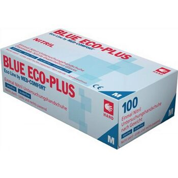 Nitrileinweghandschuhe Gr. M Blue Eco Plus puderfrei blau, 100 Paar