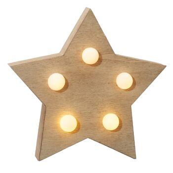 17-43603, Holz LED Holzstern 13,5 cm, 5 LEDs, Weihnachtsdeko, Wandhänger, auch toll zum selbstgestalten