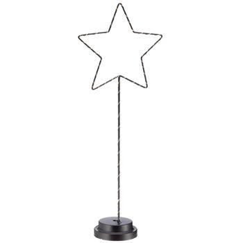 17-52178, Metall Stern auf Fuß 51 cmH, mit LED Licht