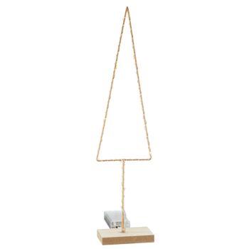 17-52182, Holz/Metall Tanne auf Fuß, 38 cmH, mit LED Licht