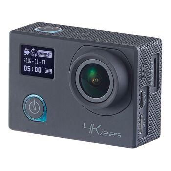 Somikon 4K-Action-Cam UHD 2 Displays 16-MP-Sony-Sensor IP68 Nachtsicht Bewegungserkennung Dashcam WLAN Kamera Actioncam Wasserdicht Sport