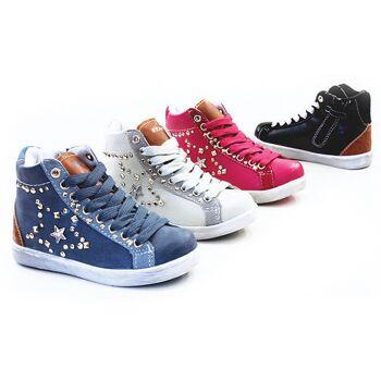 Gutscheincode zarte Farben Verarbeitung finden Kinder Mädchen Trend Sneaker Stern Nieten Größe 24-29 Schnür und  Reißverschluss Schuhe Schuh Shoes Sportschuhe Freizeit Schuh nur 7,25 Euro
