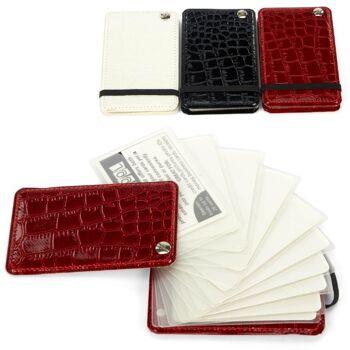 28-470511, Kartenetui 10 Fächer, auffächerbar, in Lederoptik, für gängige Bankkarten, Kundenkarten, Visitenkarten usw