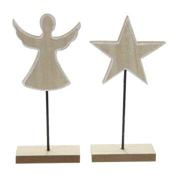17-43292, Holz Weihnachtsdeko auf Fuß/Ständer, 20 cm, mit weißem Glitzerrand