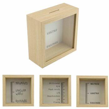 28-641457, Holz Spardose mit Skala und Fenster, sehr edle Verarbeitung