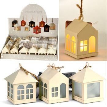28-020182, Hängedeko Haus mit LED Licht, Winterlich