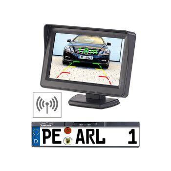 Lescars Funk-Rückfahrkamera 10,9-cm-TFT-Monitor Rückfahrhilfe im Nummernschild Parksensoren Rückfahrkamera Rückfahrwarner Einparkhilfe