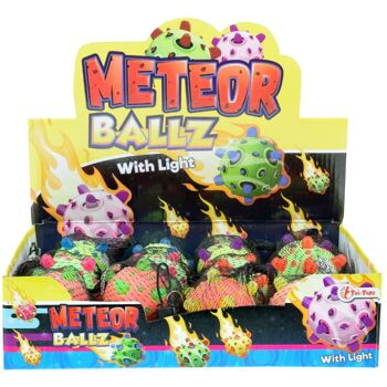 28-359367, Meteorball 6,5 cm , Gummiball mit Licht, Springball, Hüpfball