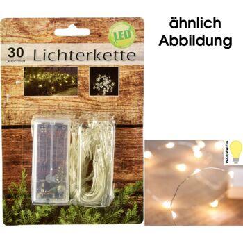 28-770171, LED Micro Lichterkette 30 Leuchten, 300 cm lang, Lämpchen Warmweiß Drahtlichterkette Lichterkette