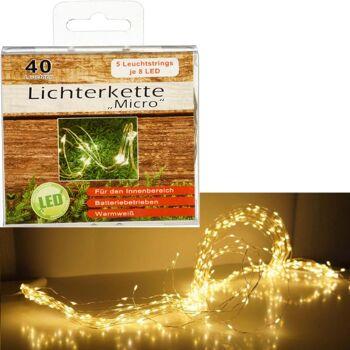 28-770188, LED Micro Lichterkette 40 Leuchten, je 5 Leuchtstrings mit 8 LED Lampen, Warmweiß Drahtlichterkette Weihnachtsbeleuchtung