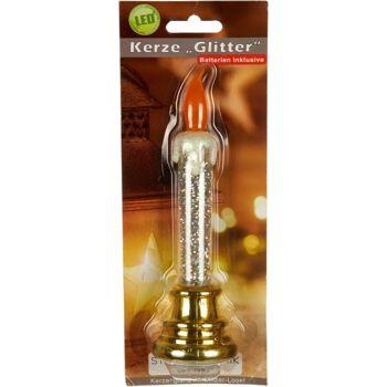 28-771381, LED Kerze Glitter 17,5 cm, LED Licht, ein Rotor sorgt für Bewegung im Wasser