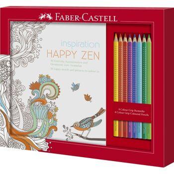 12-201433, FABER CASTELL Ausmalset Happy Zen mit 8 Colour GRIP Buntstiften, Malstift