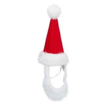 17-73127, Hunde Weihnachtsmütze mit Bart, Nikolausmütze