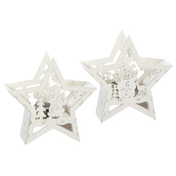 17-73192, weihnachtlicher Holz Teelichthalter 14 cm, Stern mit Motivausschnitt