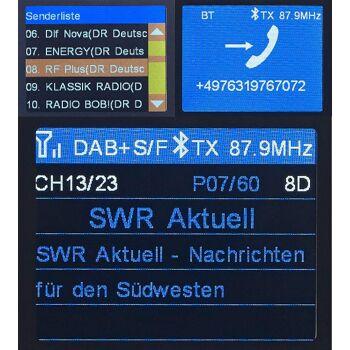auvisio FMX-680.dab DAB+ Auto DAB-Empfänger, FM-Transmitter, Bluetooth, Freisprecheinrichtung, MP3, Kfz, Autoradio, Radio, Empfänger, Hifi