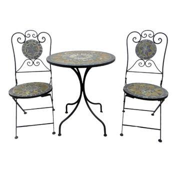 Bistro-Set Eisen Gartengruppe Sitzgruppe Stuhl Tisch Mosaik Klappbar MC4340