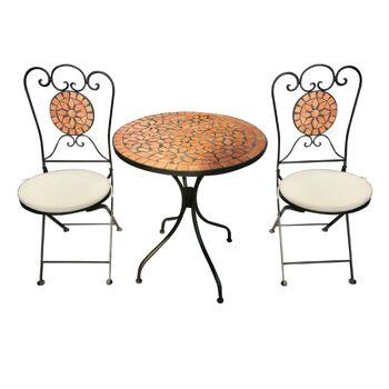 Bistro-Set Eisen Gartengruppe Sitzgruppe Stuhl Tisch Mosaik Klappbar MC4343