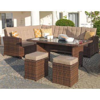 Garten Sitzgruppe Lounge Set Rattan Gartengarnitur Gartensessel Gartensofa braun