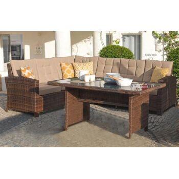 Garten Sitzgruppe Lounge Set Rattan Gartengarnitur Gartentisch Gartensofa braun