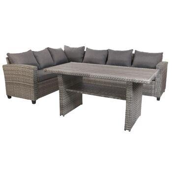 Garten Sitzgruppe Lounge Set Rattan Gartengarnitur Gartentisch Gartensofa grau