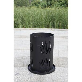 Feuerschale Stahl Feuerkorb Feuersäule mit Bodenrost & Schürhaken 60 x 40 cm