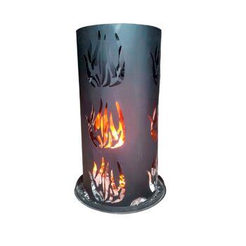 Feuerschale Stahl Feuerkorb Feuersäule mit Bodenrost & Schürhaken 80 x 40 cm
