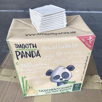 Bambus-Taschentücher   360 gefaltete Tücher, plastikfrei verpackt, 3-lagig, seidig-sanft, FSC® 100% zertifiziert, ungebleicht