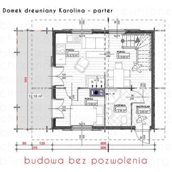 Holzhaus,Ferienhaus  KAROLINA 61 + 19 m2 NEU