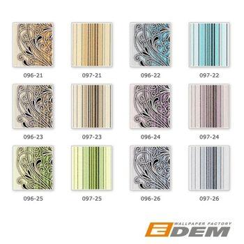 3D Barock Tapete EDEM 096-26 Tapete Damask prunkvolle Ornament-Designs blau hellblau grau weiß silber schwarz | 5,33 qm