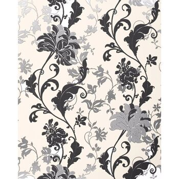 Blumen Tapete EDEM 833-20 edles florales Design Blüten Blätter Blumentapete schwarz weiß silber creme 70 cm