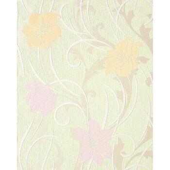 Blumen Tapete Landhaus EDEM 111-35 Stilvolle Floral Blumentapete Vinyltapete hell-grün safran-gelb hell-violett weiß