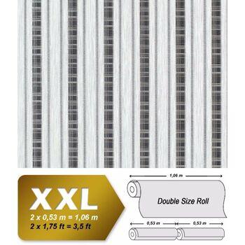 Streifen Tapete Vliestapete EDEM 640-96 Textilstruktur mit Karomuster XXL Tapete hell-grau anthrazit silber 10,65 qm