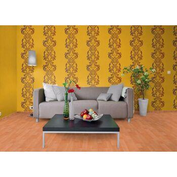 Uni Tapete EDEM 118-21 Tapete gestreift Vinyltapete gute Laune Farbe gelb-orange perlmutt-akzent