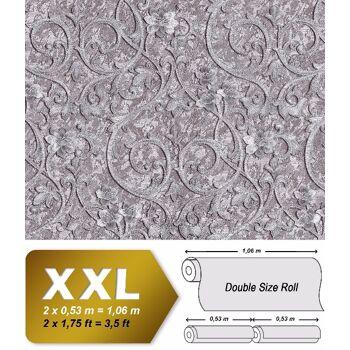 Barock Tapete EDEM 9016-35 Vliestapete geprägt mit floralen Ornamenten und metallischen Akzenten silber grau 10,65 m2