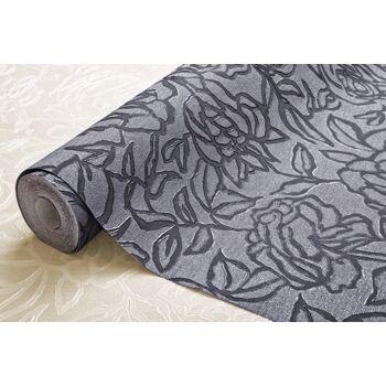 Blumen Tapete EDEM 9040-20 heißgeprägte Vliestapete geprägt mit floralem Muster glänzend creme weiß grau 10,65 m2