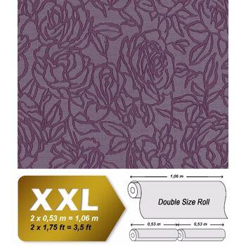Blumen Tapete EDEM 9040-29 heißgeprägte Vliestapete geprägt mit floralem Muster glänzend violett rot-lila 10,65 m2