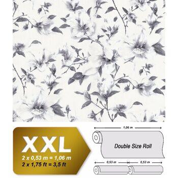 Blumen Tapete EDEM 9080-20 Vliestapete geprägt mit floralen Ornamenten schimmernd weiß grau silber 10,65 m2