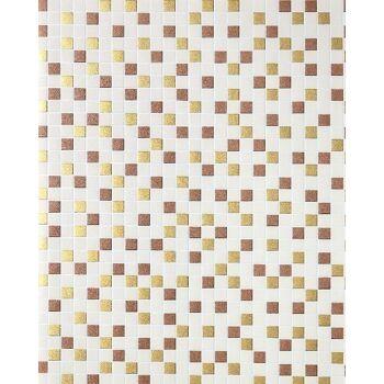 Mosaikstein Tapete Küchentapete EDEM 1022-13 Fliesen Kacheln Tapete mit geprägter Struktur beige gold kupfer silber