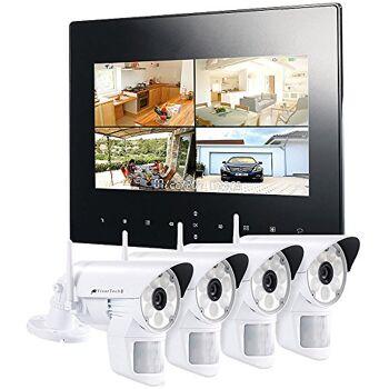 VisorTech DSC-720.mc Funk Überwachungs-Set mit 4 LED-HD-Kameras + Monitor Videoüberwachung, Funküberwachung, Überwachungskamera, Tür, NVR
