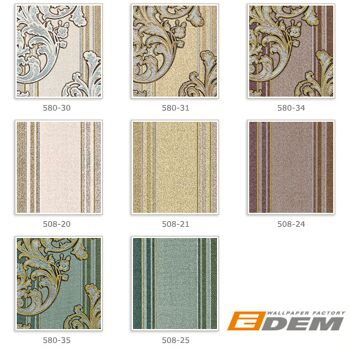Barock-Tapete EDEM 580-35 Hochwertige geprägte Tapete in Textiloptik und Metallic Effekt kiefern-grün perl-gold silber 5,33 m2