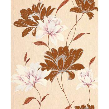 Blumen Tapete EDEM 168-31 Landhaus Blumentapete Floral Designer Vinyltapete Nussbraun creme weiß rosa silber