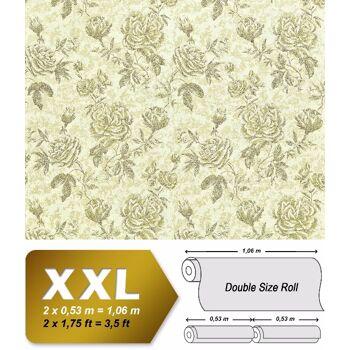 Blumen Tapete XXL Vliestapete EDEM 687-95 Florales Muster Blumentapete Rosen und Blätter grün hellgrün creme 10,65 m2