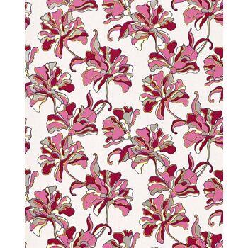 EDEM 072-24 Tapete Floral Designer Blumen Vinyltapete Creme pink weiß silber