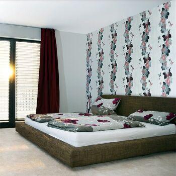 EDEM 108-31 3D Tapete Floral Designer Blumen Schmetterlinge pastellgelb weiß silber