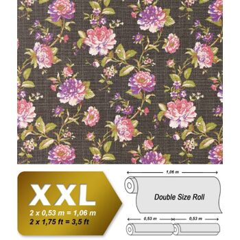 EDEM 603-94 Vliestapete XXL florales Muster Blumen braun rosa grün | 10,65 qm