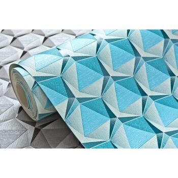 Retro Tapete EDEM 1050-12 Vinyltapete leicht strukturiert mit geometrischen Formen dezent glitzernd creme licht-blau ozean-blau 5,33 m2